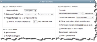 Figure 2: In this window, QuickBooks wants you to create filters to identify customers who should receive statements. Here, everyone with transactions that are more than 30 days old will be included.